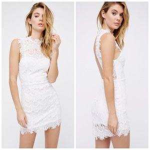 Free People Daydream Lace White Mini Dress NWT
